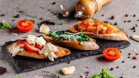 Concept de cuisine espagnole Bruschette de Tapas Different sur une baguette frite avec le basilic, tomates, fromage Plats de port images libres de droits