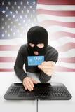 Concept de cybercriminalité avec le drapeau national sur le fond - Etats-Unis Photo stock