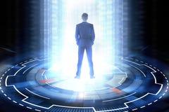 Concept de cyberespace avec l'homme d'affaires Images stock