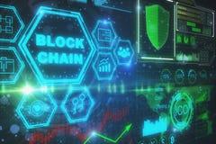 Concept de cyberespace et de bitcoin Images libres de droits