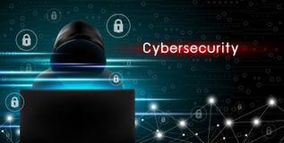 Concept de Cybersecurity du pirate informatique à l'aide de l'ordinateur avec l'icône principale Photos stock