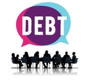 Concept de débit de finances de crédit d'obligation résultant du service de la dette Photographie stock