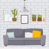 Concept de décor de maison d'appartement de conception intérieure de pièce de meubles plat Image libre de droits