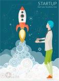 Concept de démarrage avec la fusée Photographie stock libre de droits