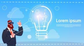 Concept de démarrage d'idée en verre de réalité de Digital d'usage d'homme d'affaires nouveau Illustration Libre de Droits