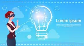 Concept de démarrage d'idée en verre de réalité de Digital d'usage de femme d'affaires nouveau Illustration Libre de Droits