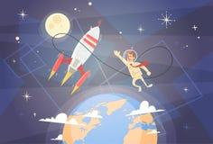 Concept de démarrage de succès de Rocket Fly Sky Business Man Images stock