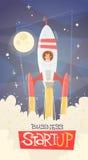 Concept de démarrage de succès de Rocket Fly Sky Business Man Photos stock