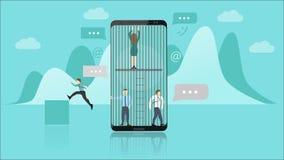 Concept de dépendance de Smartphone Les personnes emprisonnées à l'intérieur de Smartphone représentent la dépendance Ils biseaut illustration libre de droits