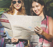 Concept de déplacement de photographie de vacances de repaire d'amitié de filles Photo libre de droits