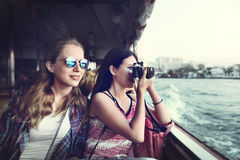 Concept de déplacement de photographie de vacances de repaire d'amitié de filles Photos libres de droits