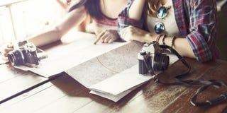 Concept de déplacement de photographie de vacances de repaire d'amitié de filles Images libres de droits