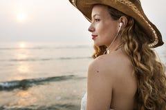 Concept de déplacement de relaxation de vacances de vacances d'été de plage images libres de droits