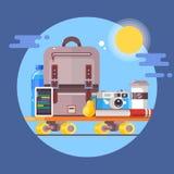 Concept de déplacement de vacances Affiche de vacances de vacances d'été Illustration plate de vecteur Photos libres de droits
