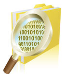 Concept de dépliant de fichier de données binaires de loupe Photos stock