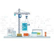 Concept de développement d'applications pour le commerce en ligne, applications mobiles, bannières Image stock