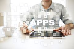 Concept de développement d'Apps Affaires et concept de technologie d'Internet Photos libres de droits