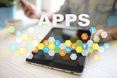Concept de développement d'Apps Affaires et concept de technologie d'Internet Images stock