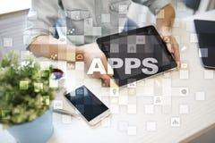Concept de développement d'Apps Affaires et concept de technologie d'Internet Photos stock