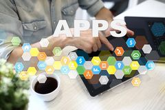 Concept de développement d'Apps Affaires et concept de technologie d'Internet Photographie stock libre de droits