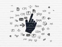 Concept de développement de Web : Curseur de souris sur le mur Image libre de droits