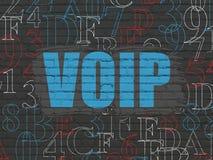 Concept de développement de Web : VOIP sur le fond de mur Photographie stock
