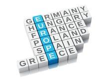 concept de 3d l'Europe Mots croisé avec des lettres Photo libre de droits