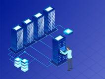 Concept de Data Center avec l'illustration isométrique du web server, a illustration libre de droits