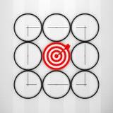 Concept de date-butoir Horloges abstraites avec la flèche de cible et de dard 3d illustration stock