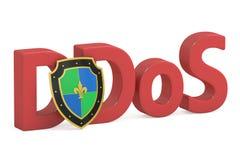 Concept de DDOS avec le bouclier Image libre de droits