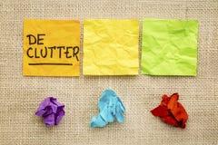 Concept de Declutter sur les notes collantes photo stock