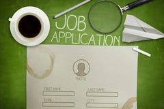 Concept de demande d'emploi sur le tableau noir vert avec photographie stock