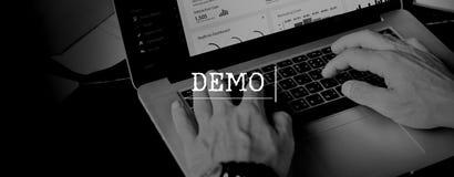 Concept de Demo Test Ideas Trailer Trial photographie stock
