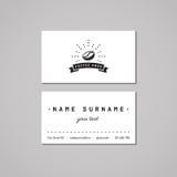 Concept de design de carte d'affaires de café Logo de café avec le grain de café, les rayons et le ruban Images stock