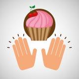 Concept de dessert de petit gâteau de cerise Photographie stock