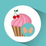 Concept de dessert de petit gâteau de cerise Photos libres de droits