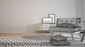 Concept de dessinateur d'intérieurs d'architecte : projet non fini qui devient vrai, minimaliste salon avec le grand tapis rond e illustration de vecteur