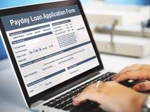 Concept de dette de salaire de forme de demande de prêt de jour de paie Image libre de droits