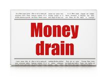 Concept de devise : drain d'argent de titre de journal Photo stock