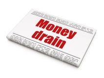 Concept de devise : drain d'argent de titre de journal Photographie stock libre de droits