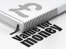 Concept de devise : livre de livre, le rendement-coût sur le fond blanc Photo libre de droits