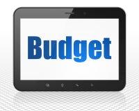 Concept de devise : Ordinateur de PC de Tablette avec le budget sur l'affichage Photo stock