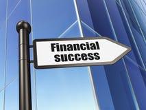 Concept de devise : succès financier de signe sur le fond de bâtiment Images libres de droits