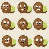 Concept de différentes expressions avec le kiwi Photo stock