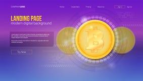Concept de Digital de page d'atterrissage de site Web Bitcoin avec le concept de technologie d'UI, interface de vecteur avec l'in illustration de vecteur