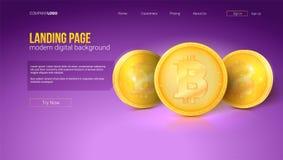 Concept de Digital de page d'atterrissage de site Web Pièces de monnaie d'or de bitcoin, interface de vecteur Calibre avec le gra illustration stock