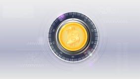 Concept de Digital de serrure numérique de sécurité Bitcoin avec le concept de technologie d'UI, interface de vecteur avec l'info illustration libre de droits