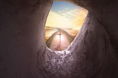 Concept de dimanche de Pâques : Croix de crucifixion de Jesus Christ Photo stock