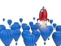 Concept de direction avec la fusée rouge Photographie stock libre de droits