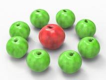 Concept de direction avec la pomme rouge Images stock